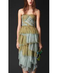 Burberry Layered Silk Bustier Dress - Lyst