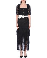 Alessandra Rich Fringed-Hem Lace Dress - For Women black - Lyst