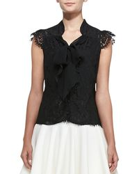 Milly Emily Capsleeve Tieneck Lace Top Black 0 - Lyst