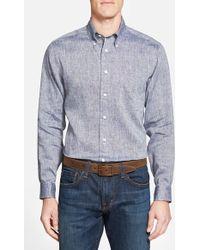 Brooks Brothers Regent Fit Speckled Linen Sport Shirt blue - Lyst