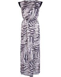 River Island Brown Animal Print Sequin Maxi Dress - Lyst
