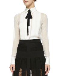 J. Mendel Long-Sleeve Silk Blouse With Black Tie beige - Lyst