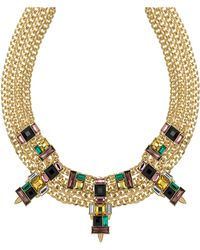 Sam Edelman Faceted Stone Multi-chain Collar Necklace - Multicolor