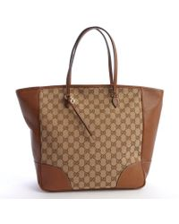 Gucci Beige Canvas and Leather Gg Tote Bag - Lyst