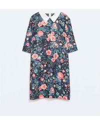 Zara Floral Dress with Shirt Collar - Lyst