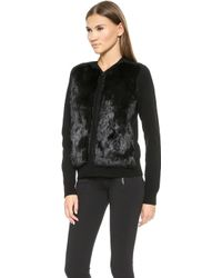 Vince Cardigan Sweater with Fur Trim  Black - Lyst
