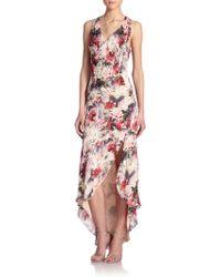 Haute Hippie Floral Silk Cowlneck Dress - Lyst
