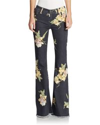 Free People Floral Flared Jeans - Lyst