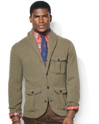 Polo Ralph Lauren Wool Blend Shawl Cardigan - Lyst