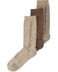 Perry Ellis Mens Cfit Massage Patterned Dress Crew Socks 3pack - Lyst