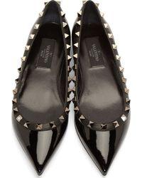 Valentino Black Patent Leather Rockstud Flats - Lyst