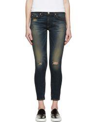 Rag & Bone Blue Distressed Zipper Capri Jeans - Lyst
