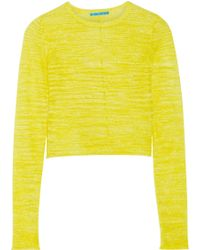 Alice + Olivia Fallon Cropped Flax-Blend Sweater - Lyst