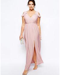 Asos Curve Wrap Front Maxi Dress - Lyst