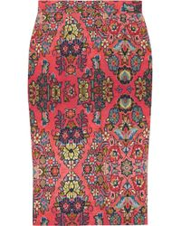 Vivienne Westwood Anglomania Printed Stretchcotton Pencil Skirt - Lyst
