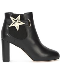 RED Valentino Black Star Embellished Leather Ankle Boots