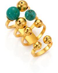 Paula Mendoza Bulles Emerald Ring Set - Metallic
