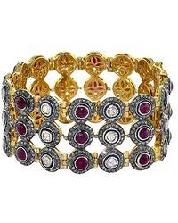 Socheec - Sliced Diamond And Ruby Link Bracelet - Lyst