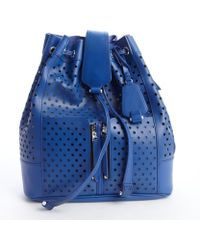Olivia Harris Blueberry Perforated Leather Backpack blue - Lyst
