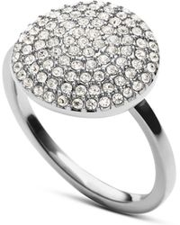 Michael Kors Silver Tone and Glitz Disc Ring - Lyst