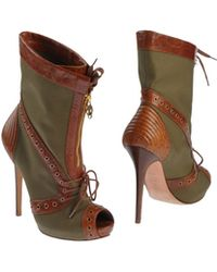Alexander McQueen Green Ankle Boots - Lyst