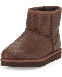 Ugg Woven Leather Mini Boot - Lyst