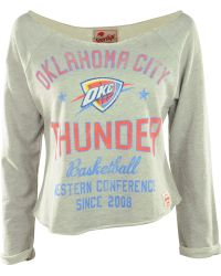 Sportiqe Women's Long-sleeve Oklahoma City Thunder Crop Top - Gray