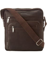 """Kenneth Cole Reaction Columbian Leather - 2.25"""" Single Gusset Top Zip Day Bag - Lyst"""