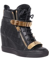 Giuseppe Zanotti Leather High-Top Sneakers With Coconut Print - Lyst