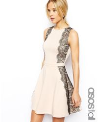 Asos Tall Lace Paneled Skater Dress - Lyst