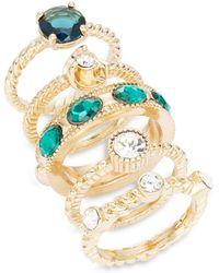 ABS By Allen Schwartz Goldtone Multi-stone Ring Set - Metallic