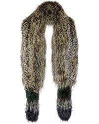 Sonia Rykiel Striped Silver Fox Fur Scarf - Lyst