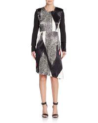 Reed Krakoff Printed-front Asymmetrical-hem Dress - Black