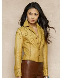 Ralph Lauren Blue Label - Whipstitched Leather Jacket - Lyst
