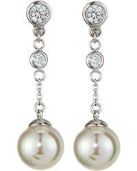 Majorica Pearl Cz Linear Earrings - Lyst
