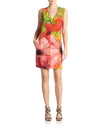 Josie Natori Silk Floral-Print Dress - Lyst