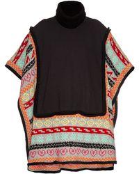 Michaela Buerger   Wool-knit Trimmed Jersey Poncho   Lyst