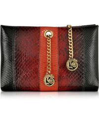Roberto Cavalli Orb Black And Dark Red Ayers Snake Small Clutch W/Chameleon Chain - Lyst