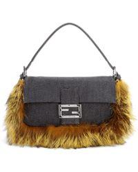 Fendi Baguette Denim Shoulder Bag With Fur Trim - Lyst