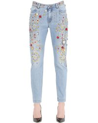 Dolce & Gabbana Embellished Boyfriend Cotton Denim Jeans blue - Lyst