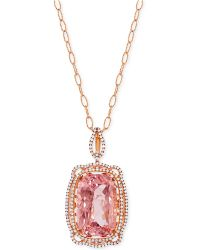 Lali Jewels - Morganite (16-3/4 Ct. T.w.) And Diamond (5/8 Ct. T.w.) Pendant Necklace In 18k Rose Gold - Lyst