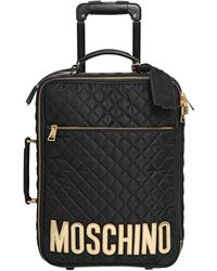 Moschino - Leather-appliquéd Quilted Satin-shell Travel Trolley - Lyst