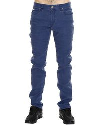 Giorgio Armani Jeans Cotton Blend Lino Bottom Or Sole Or (Zip Al Fondo) Ankle Zip 18 blue - Lyst