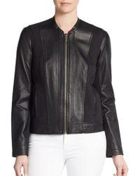 Helmut Lang Cotton Paneled Leather Jacket - Lyst