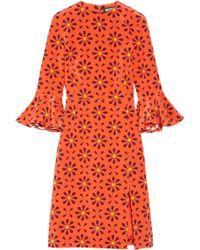 Holly Fulton | Irina Printed Ruffle-trimmed Silk Crepe De Chine Dress | Lyst