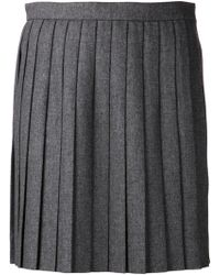 Saint Laurent Pleated Mini Skirt - Lyst