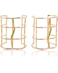 Vara Of London Bamboo Leaves Cuff - Metallic