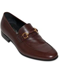 Ferragamo Platino Horse Bit Leather Loafers - Lyst