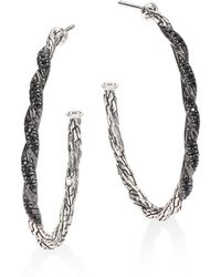 John Hardy | Classic Chain Lava Medium Black Sapphire & Blackened Sterling Silver Hoop Earrings/1.3 | Lyst