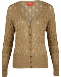 Vivienne Westwood Red Label Gold Lurex Pointelle Knit Cardigan - Lyst
